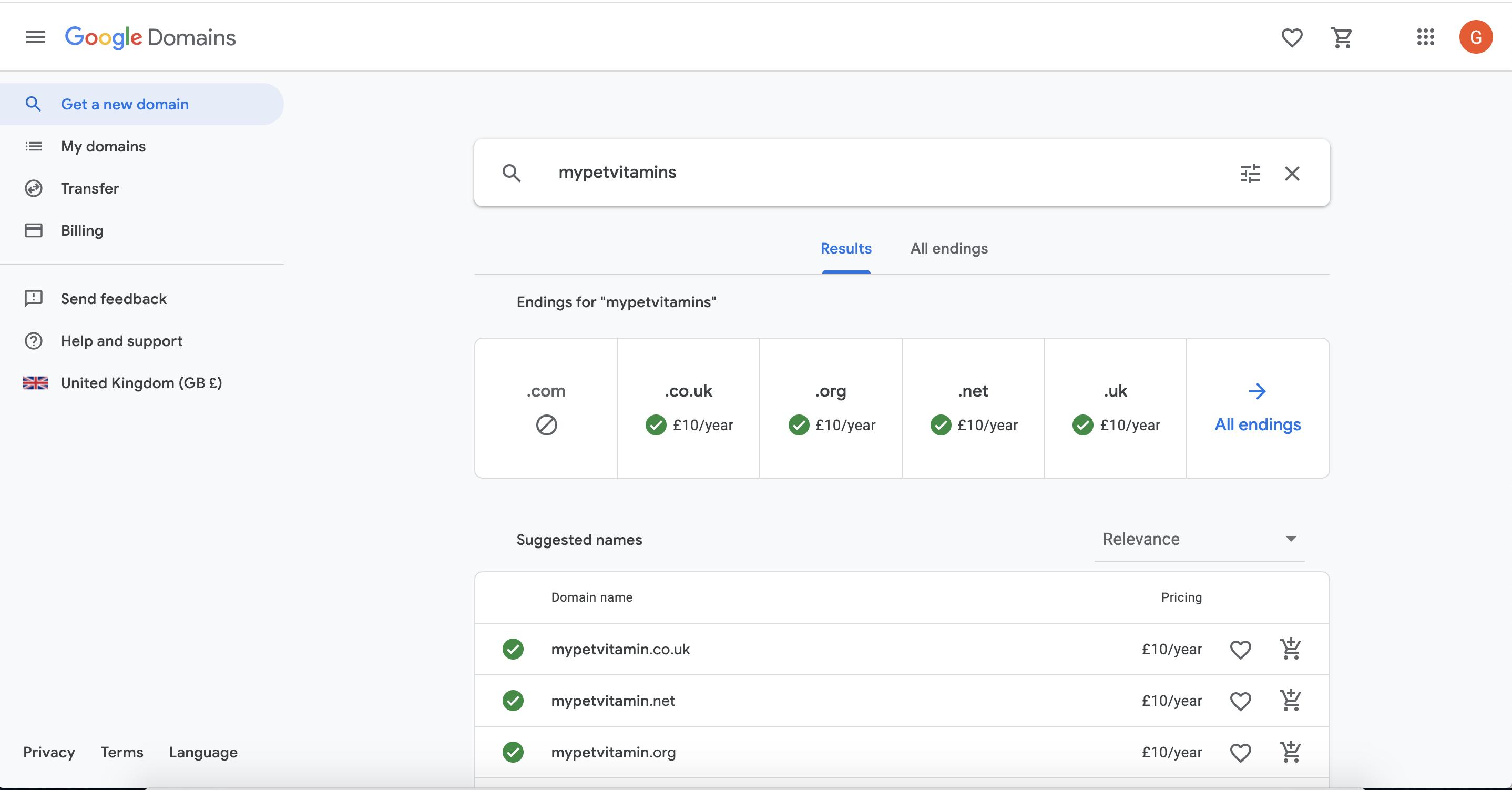 online pet store Google domains
