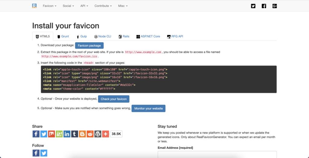 Favicon code